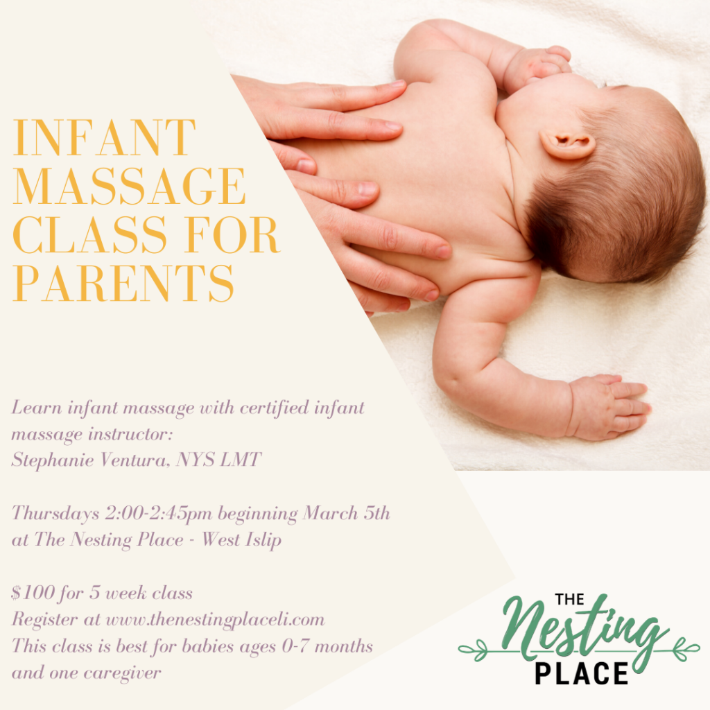 Infant Massage Training Class for Parents for babies mom mommy and me Long Island West Islip