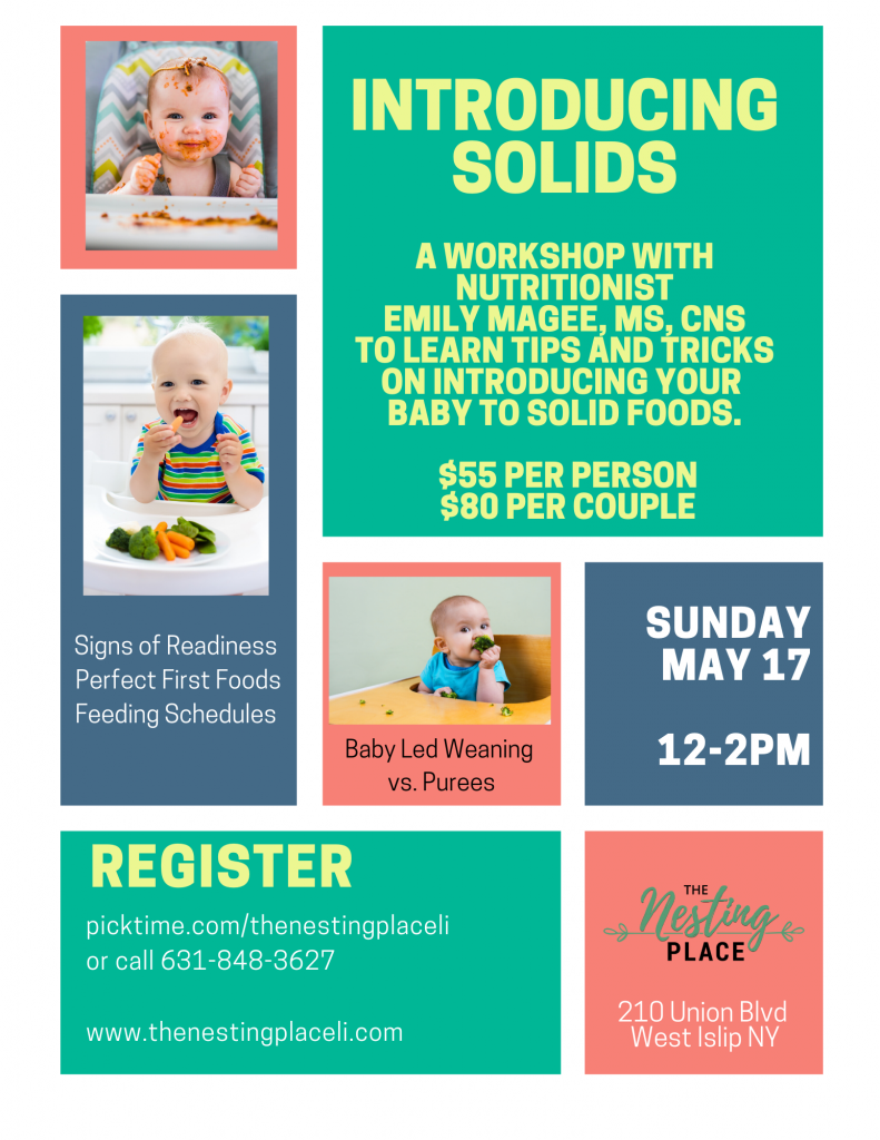 Intro to Solids for Babies Workshop Mommy and Baby Toddler Nutrition Health Healthy West Islip Long Island Baby Led Weaning Purees Recipe